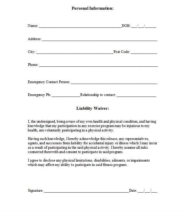 Liability insurance liability insurance personal training for Fitness waiver and release form template