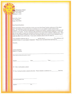 Parent Letters (Click to enlarge) Parent Teacher Conference Letter