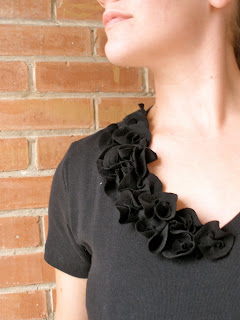 tiny fabric flowers ruffly tshirt