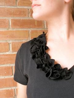 tiny fabric flowers ruffly tshirt