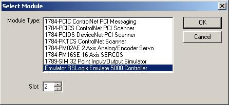 Rslogix 5000 emulator slot 0 drive