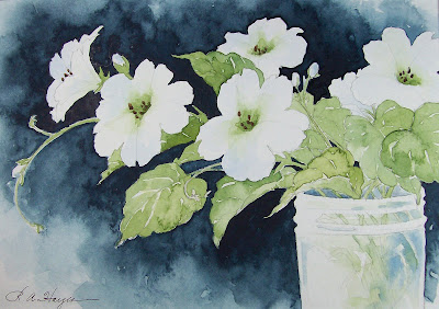 Watercolor Paintings By Roseann Hayes White Morning Glory