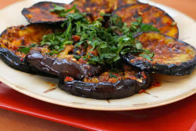 Spicy Grilled Eggplant with Red Pepper, Parsley, and Mint found on KalynsKitchen.com