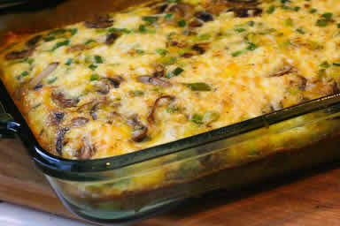 original photo for Low-Carb Mushroom, Green Pepper, and Feta Breakfast Casserole (Gluten-Free) found on KalynsKitchen.com
