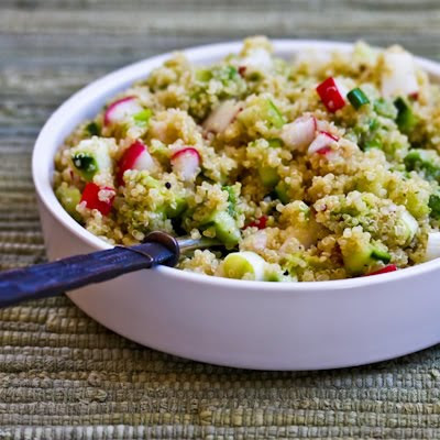 Quinoa Salad with Avocado, Radishes, Cucumbers, and Cumin-Lime Vinaigrette
