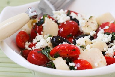 Original photo for Tomato, Hearts of Palm, Olive, and Feta Salad with Basil Vinaigrette found on KalynsKitchen.com