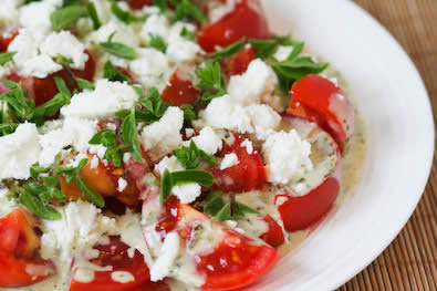 Summer Tomato Salad with Goat Cheese, Basil Vinaigrette, and Fresh Herbs found on KalynsKitchen.com