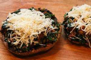 Grilled Portobello Mushrooms Stuffed with Sausage, Spinach, and Cheese found on KalynsKitchen.com
