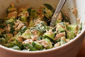 Garden Cucumber Salad with Tuna and Sweet Basil found on KalynsKitchen.com