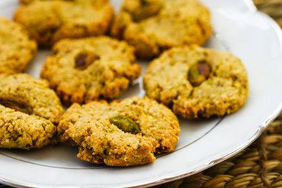 Four-Ingredient Flourless, Sugar-Free Pistachio Cookies found on KalynsKitchen.com