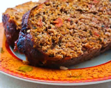 Low-Carb Grain-Free Meatloaf with Tomatoes, Fennel, and Flax Seed found on KalynsKitchen.com