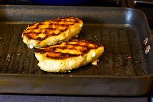 Mustard, Lemon, and Coriander Grilled Chicken Breasts with Lemon-Basil Vinaigrette found on KalynsKitchen.com