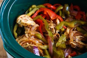 Chicken Fajitas in the Crockpot  found on KalynsKitchen.com