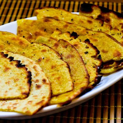 Socca (Garbanzo or Chickpea Flour Flatbread Pancake from France) found on KalynsKitchen.com.