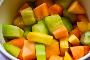 Fruit Salad Recipe with Cantaloupe, Honeydew, Pineapple, and Dill found on KalynsKitchen.com