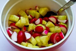 Tomato, Cucumber, and Radish Salad with Yogurt and Tahini Dressing found on KalynsKitchen.com