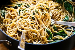 Whole Wheat Spaghetti with Garlic, Chard, and Pecorino-Romano Cheese found on KalynsKitchen.com