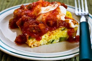 Zucchini and Green Chile Breakfast Casserole found on KalynsKitchen.com