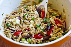 Whole Wheat Orzo Salad with Tomatoes, Kalamata Olives, Feta, and Herb Vinaigrette  found on KalynsKitchen.com