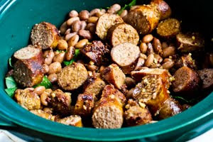 Crockpot Sausage, Beans, and Greens from KalynsKitchen.com
