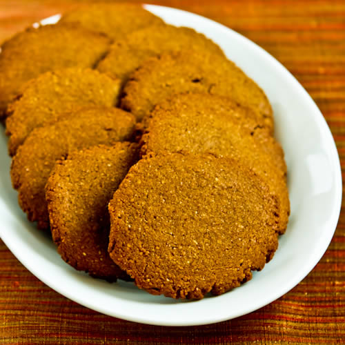 Low-Sugar and Whole Wheat Molasses-Almond Cookies found on KalynsKitchen.com