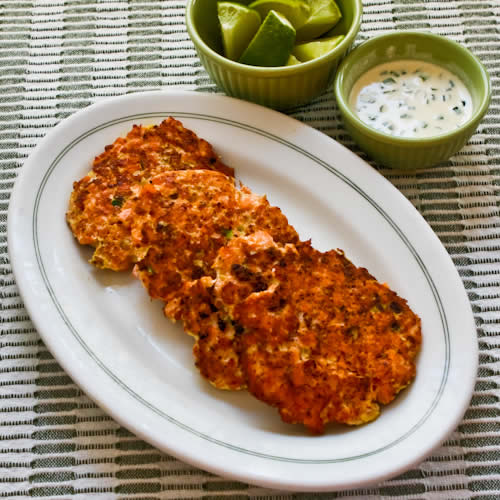 Asian Flavored Wild Salmon Patties Recipe with Ginger, Scallions, and Sesame-Lime Mayonnaise found on KalynsKitchen.com