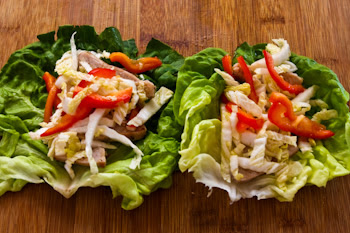 Asian Lettuce Wraps with Pork, Napa Cabbage, and Red Bell Pepper found on KalynsKitchen.com