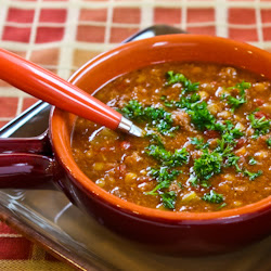 Spicy Sausage, Lentil, and Tomato Soup found on KalynsKitchen.com