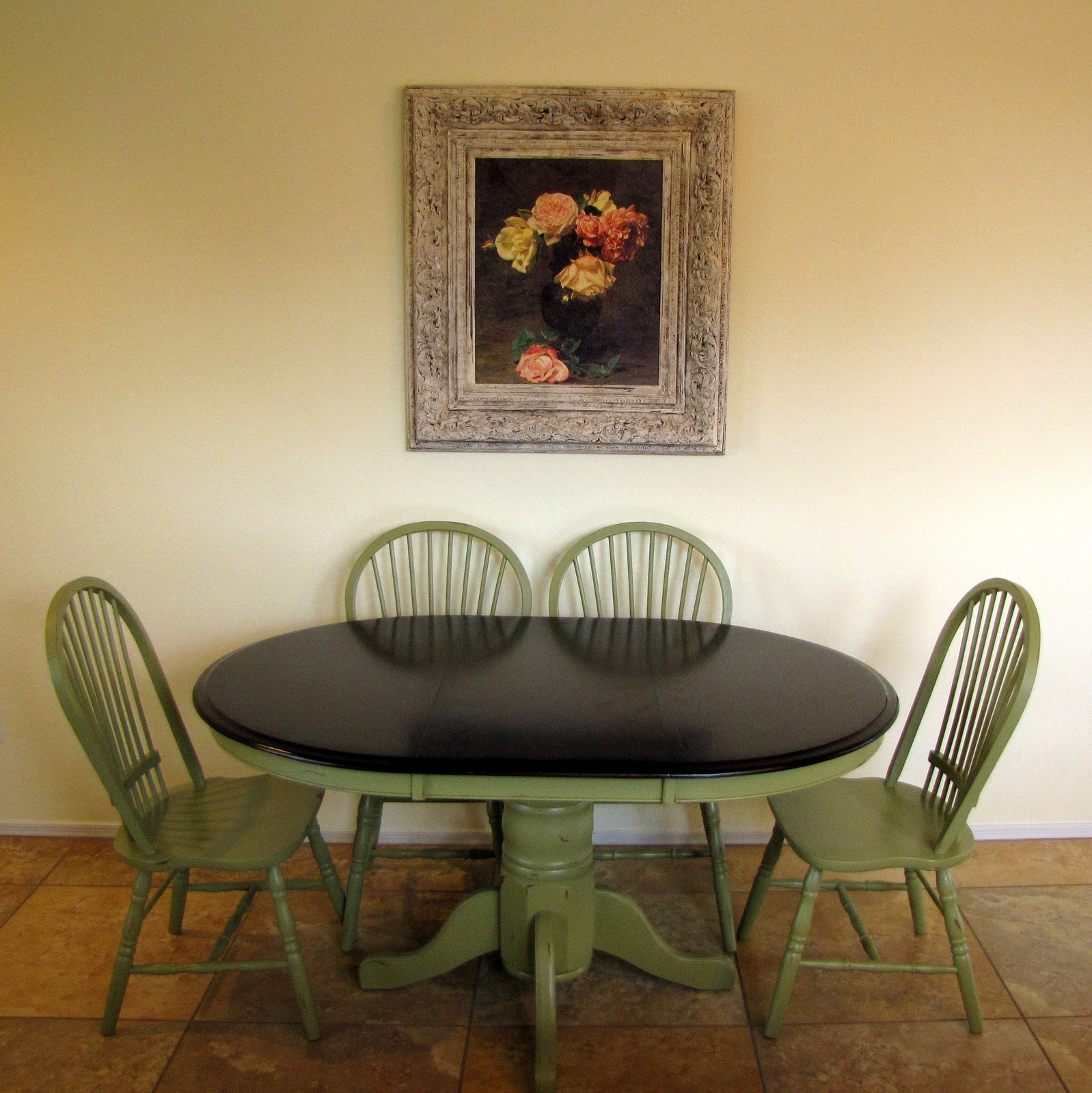 Restoration Furniture Olive Green Dining Table