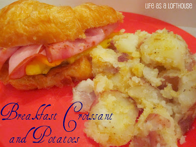 Breakfast Croissant and Potatoes is croissants filled with egg, cheddar cheese and ham with a side of red potatoes covered in seasoned salt and pepper. Life-in-the-Lofthouse.com
