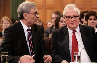 Head of the Law Council of the Ministry of Foreign Affairs of Serbia and Montenegro, Radoslav Stojanovic, left, and member of the International Law Commission, Ian Brownlie, right, at the International Court of Justice, also known as the World Court, in The Hague, the Netherlands, Monday Feb. 26, 2007. The United Nations' highest court ruled that Serbia failed to use its clear influence with Bosnian Serbs to prevent the genocide of Bosnian Muslims at Srebrenica, but exonerated Serbia of direct responsibility for genocide or complicity in genocide in Bosnia during the 1992-95 war. The court began delivering a historic ruling Monday on whether Serbia is responsible for genocide through the killing, torture, rape and expulsion of Bosnian Muslims. It is the first time an entire nation is being held to judicial account for the ultimate crime.