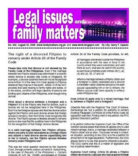 Free PDF newsletter on divorce and remarriage under the Family Code