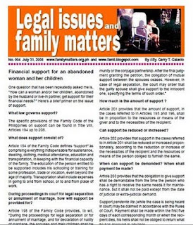 Free PDF newsletter on how to obtain support for abandoned woman and family