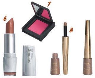 f86e1a334 1. Brush em mousse (nude acetinado) R$ 23,00; 2. Sombra em pó com glitter  (brown star bronze) R$ 15,00; 3. Brush Creme a pó (rosa dicromático) R$  22,00; 4.
