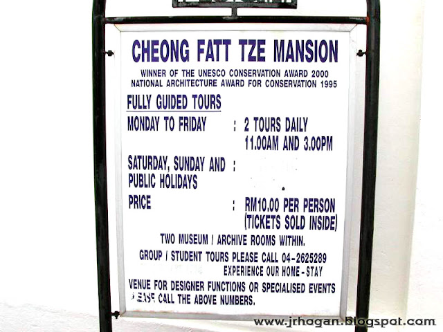 Ticket Prices Tours for Blue Mansion in Penang