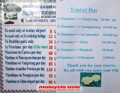 Bus tickets in Vientiane Guesthouse
