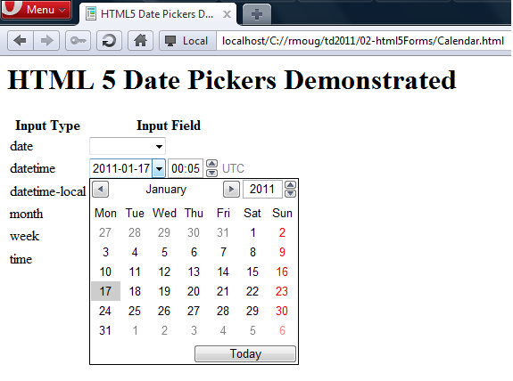 Inspired by Actual Events: HTML5 Date Picker