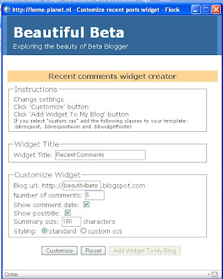 Blogger recent comments widget creator
