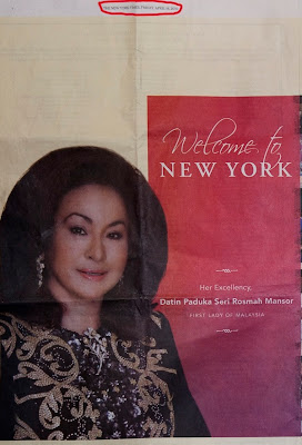 Full page advertisement in New York Times wasted to aggrandize wife of Najib Razak