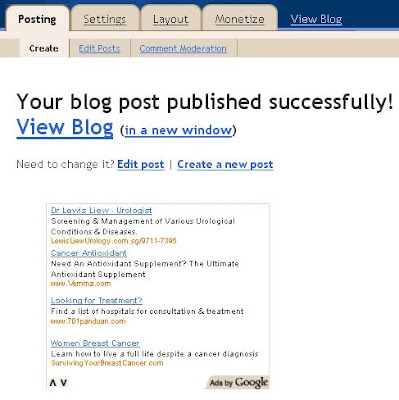 AdSense large rectangle ad unit incorporated into Blogger Dashboard