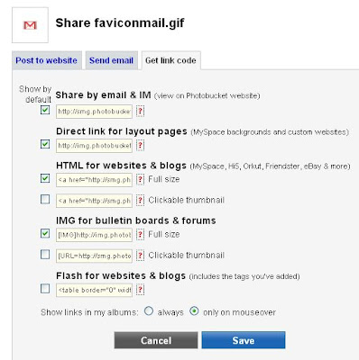 Photobucket share options