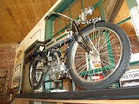 Classic Triumph motorcycle on display at Seaba Station