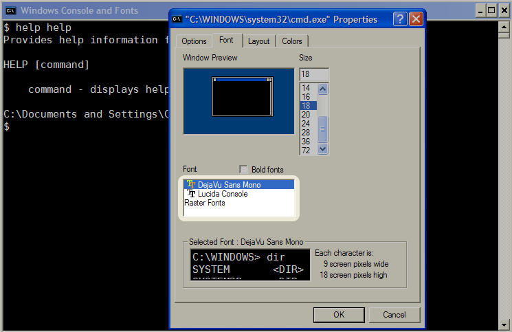 Cristian Adam's: Windows Console and True Type Fonts