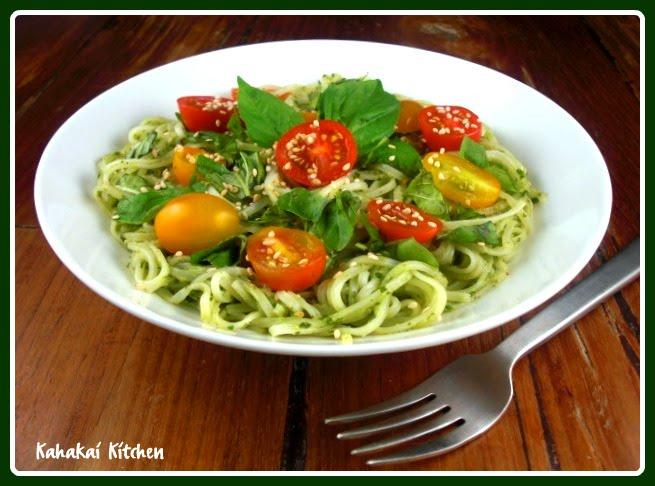 Kahakai Kitchen: Fresh Ginger and Basil Pasta--Green, Vegan, Healthy