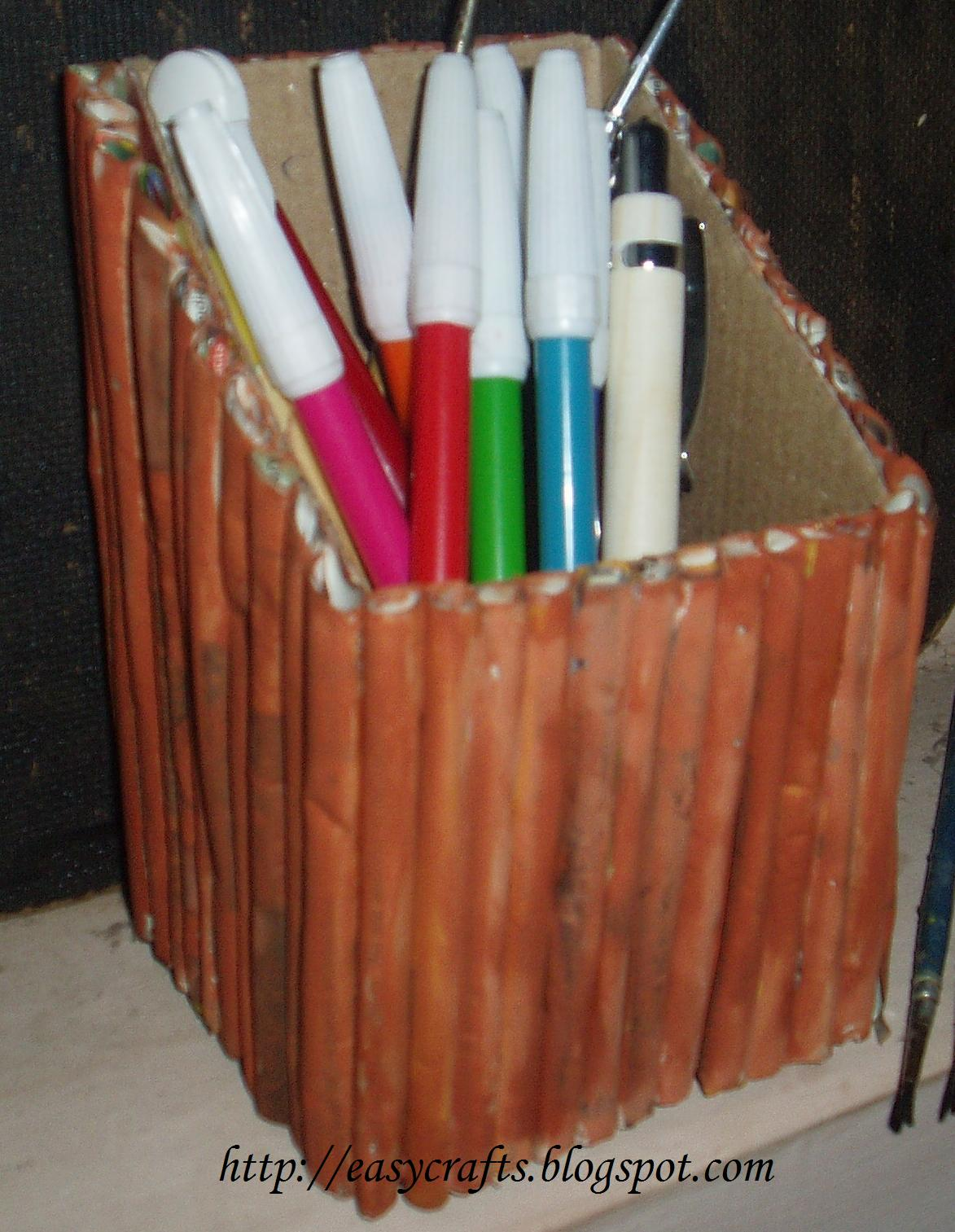 Easy crafts explore your creativity pen stand from old for Best from waste material