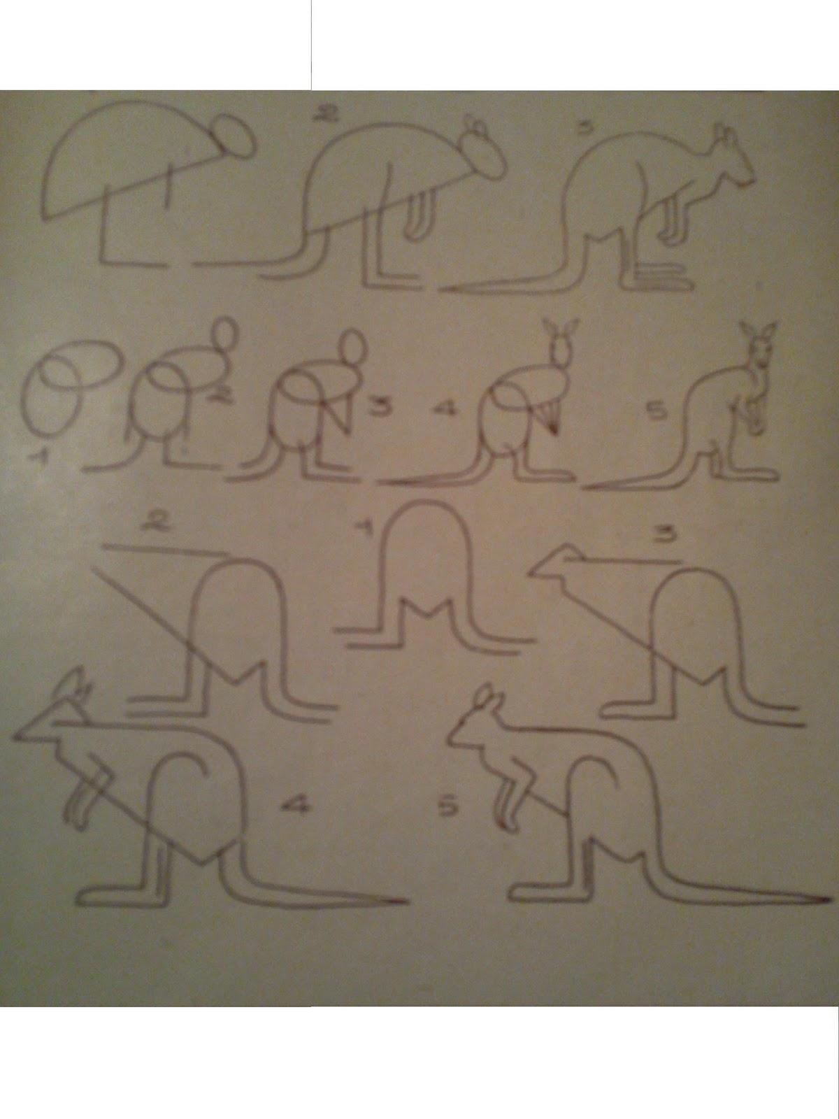 Dessins astuces pour debutants dessiner un kangourou - Dessiner un kangourou ...