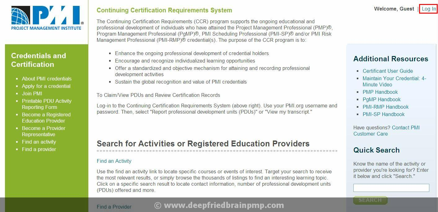Pmp renewal how to report pdus to pmi pmp pmi acp capm exam prep step 1 go to pmi ccrs website 1betcityfo Images