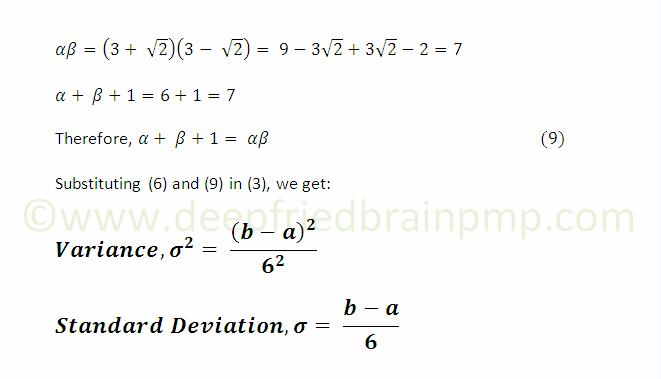 Formula for Variance and Standard Deviation