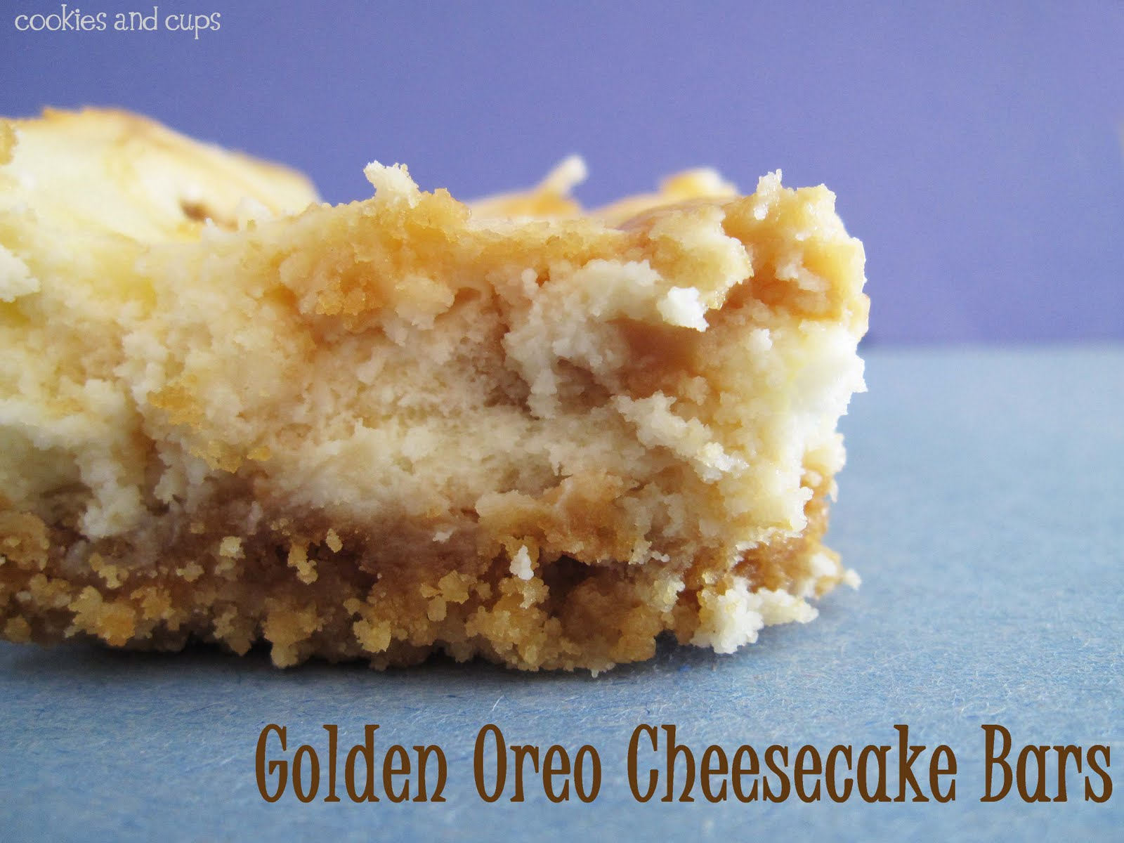 Golden Oreo Cheesecake Bars Cookies and Cups