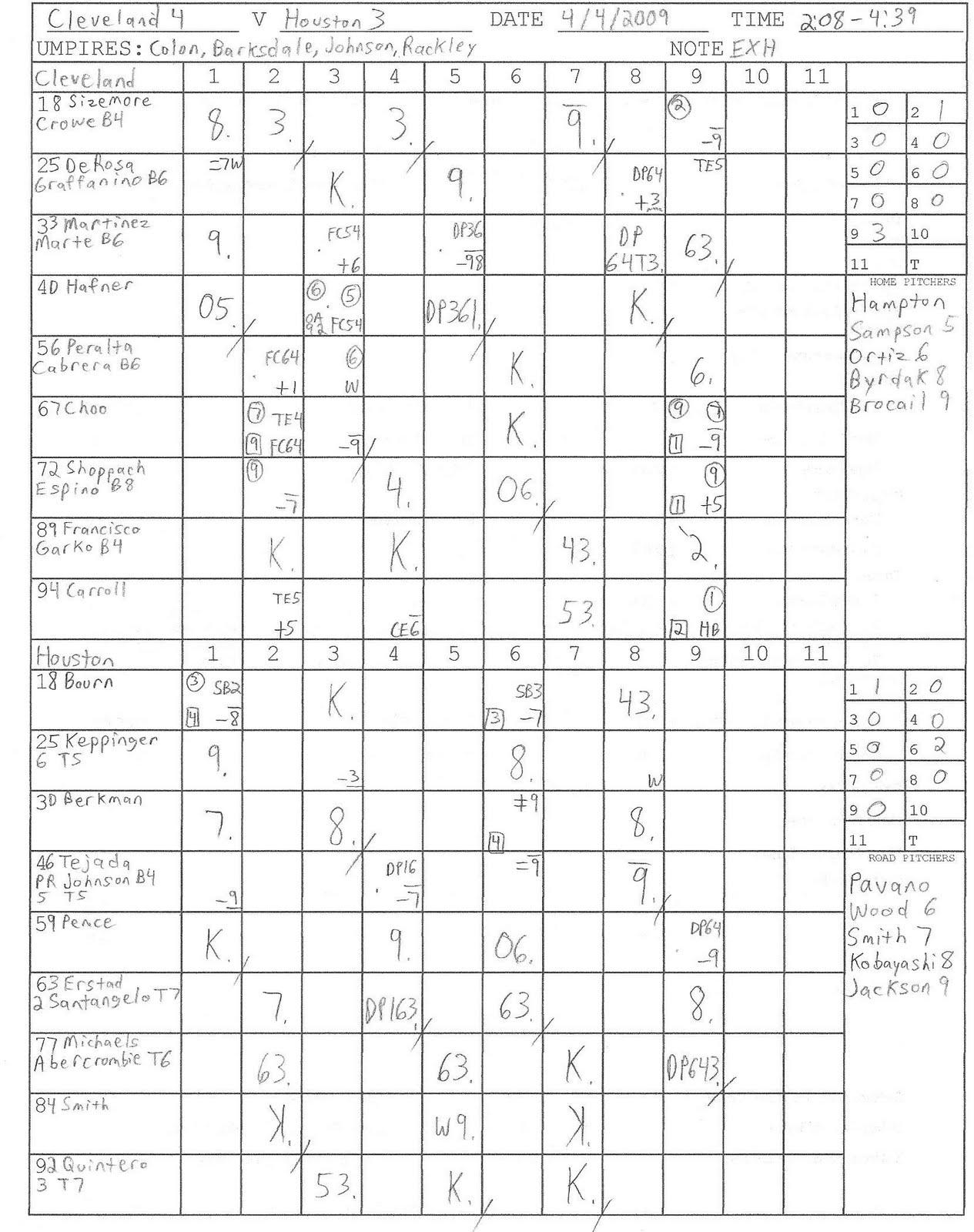 Weekly Scoresheet